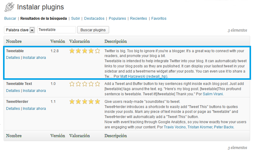 01. Tweetable - búsqueda del plugin en WordPress