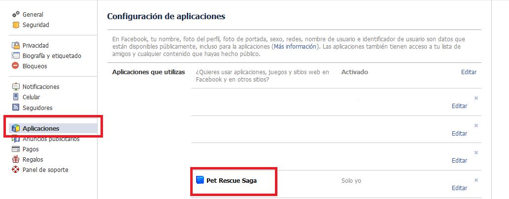 Configuración de aplicaciones en Facebook