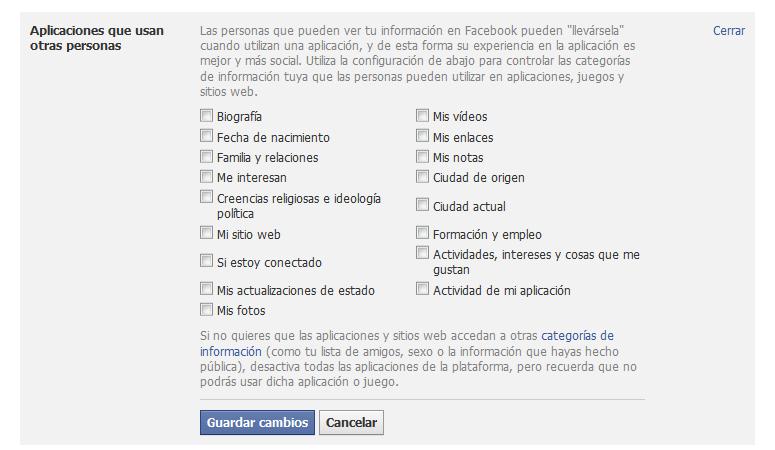 Configuración de aplicaciones de otras personas en Facebook