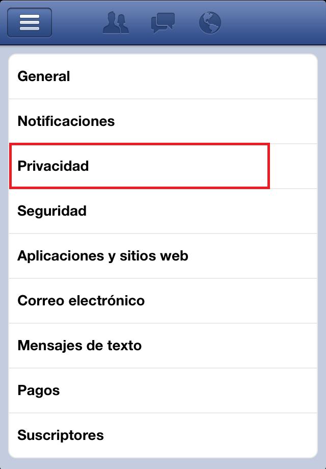 Privacidad en la aplicación de Facebook para iPhone