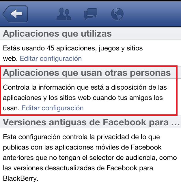 Configuración en iPhone  aplicaciones que usan otras personas