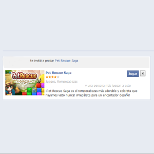 Invitación aplicación en Facebook