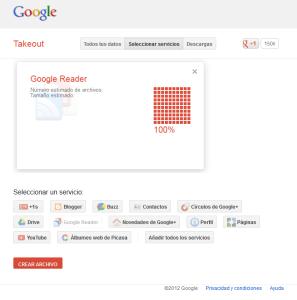 Google Takeout - Seleccionamos Google Reader