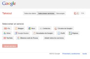 Google Takeout - Seleccionar servicios