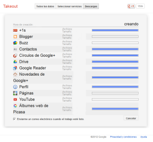 Google Takeout - Creando archivo