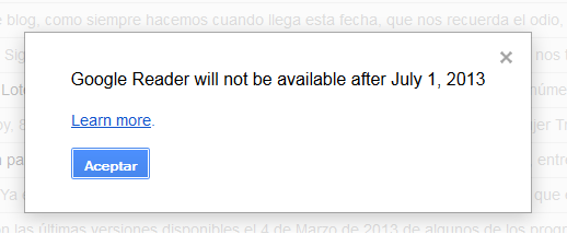 Mensaje Noticia Google Reader