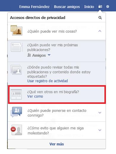 Ajustes de privacidad en Facebook