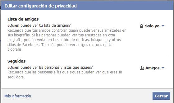 Editar configuración privacidad de amigos Facebook