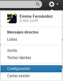 Nuestra configuración en Twitter