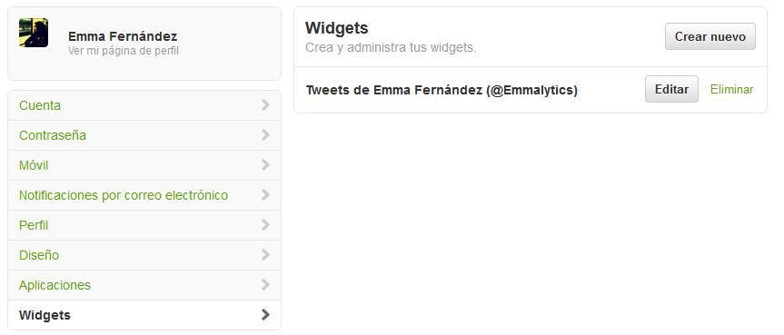 Crear Widget Twitter