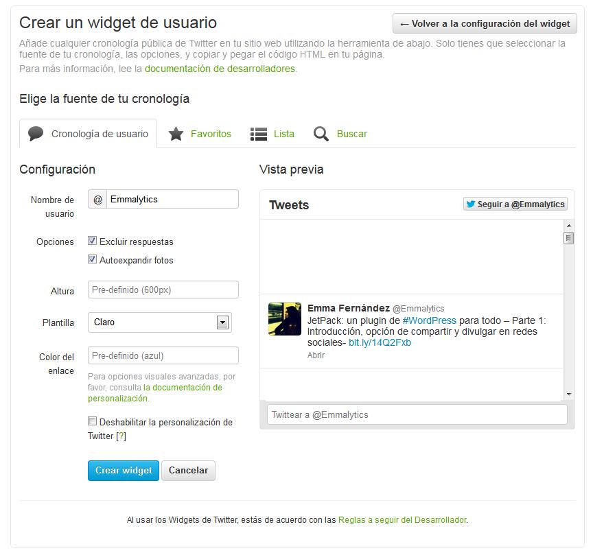 Opciones de Crear Widget Twitter