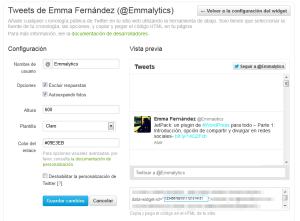 ID del widget de Twitter de JetPack en HTML