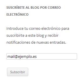 Cómo queda el widget de suscripciones al blog en la barra lateral