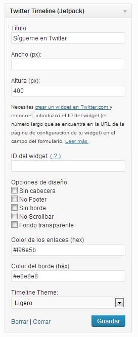 Widget Twitter JetPack