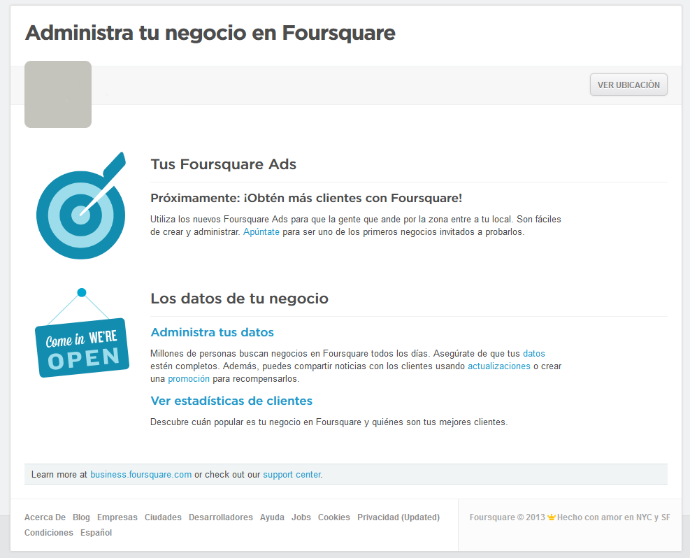 Administra tu negocio en Foursquare