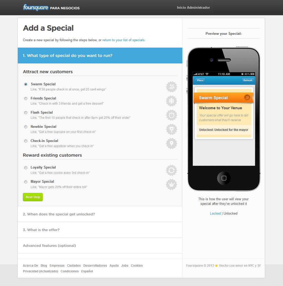 Foursquare - Añadir Promoción: tipos de promociones