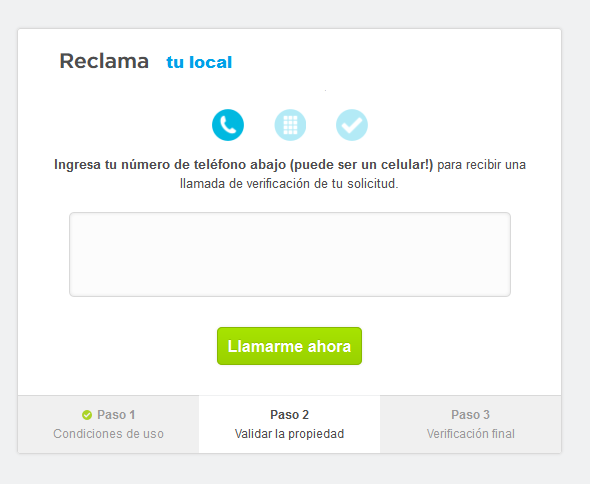 Reclamar tu sitio en Foursquare - Llamada de Foursquare