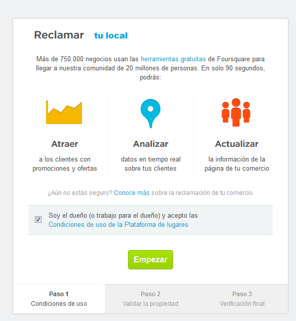 Reclamar tu sitio en Foursquare