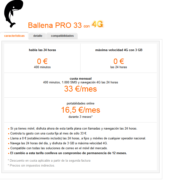 Tarifa Ballena 33