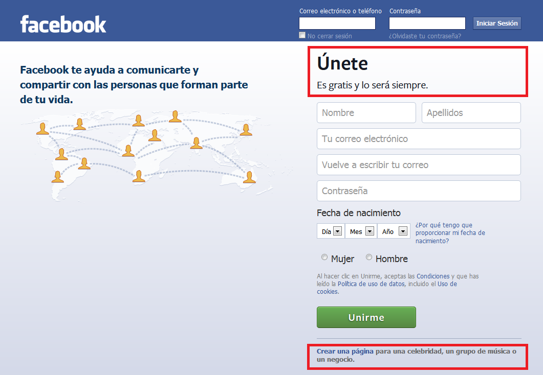inicio facebook crear cuenta o crear pgina