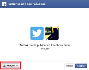 Autorizar a Twitter publicar en mi nombre en Facebook
