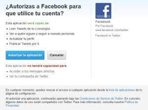 Damos permisos de escritura y lectura a Facebook para Twitter