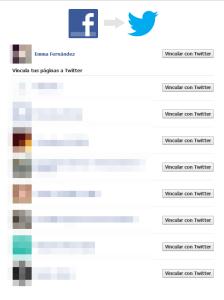 Elegimos las páginas que deseamos vincular con Twitter