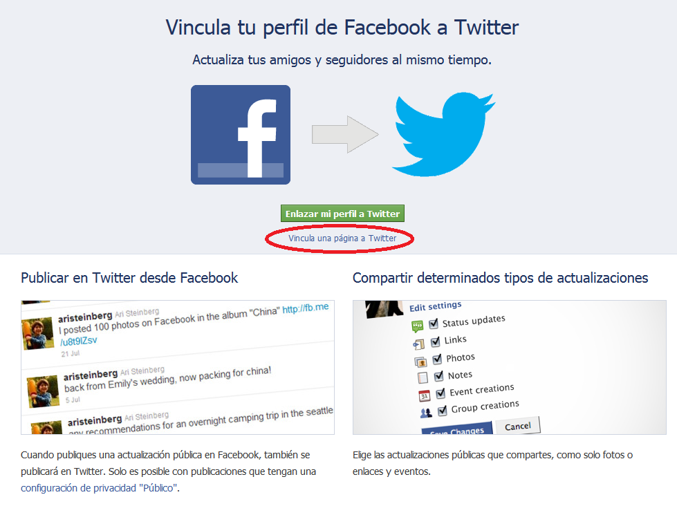 Enlazar mi perfil de Facebook a Twitter