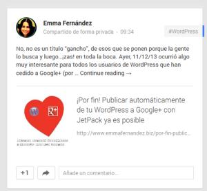Publicación automática en Google+