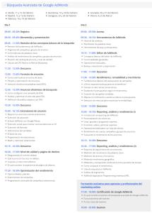 Programa del curso avanzado Google Academies