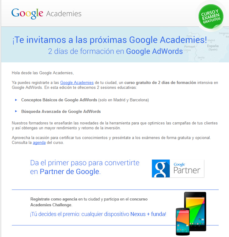 "Mail ""Invitacion"" Google AdWords Academies"