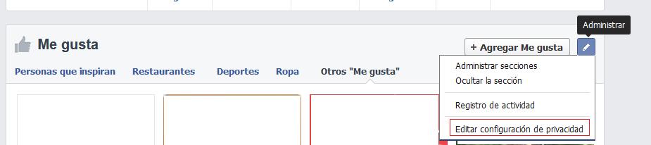 "Administrar tus ""me gusta"" en Facebook"