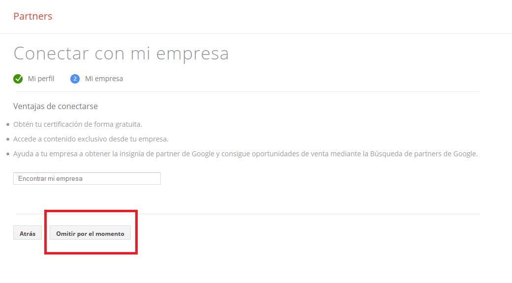 Omitir opción encontrar mi empresa en Google Partners