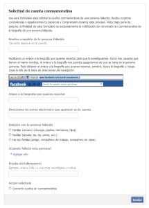 Facebook - Solicitud de cuenta conmemorativa