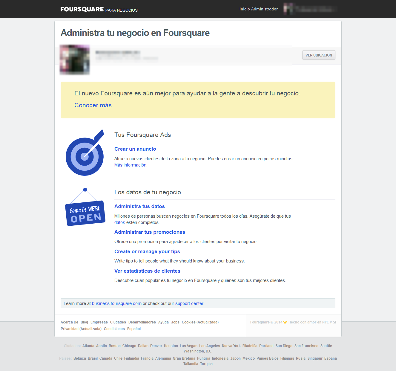 Administrador de Foursquare