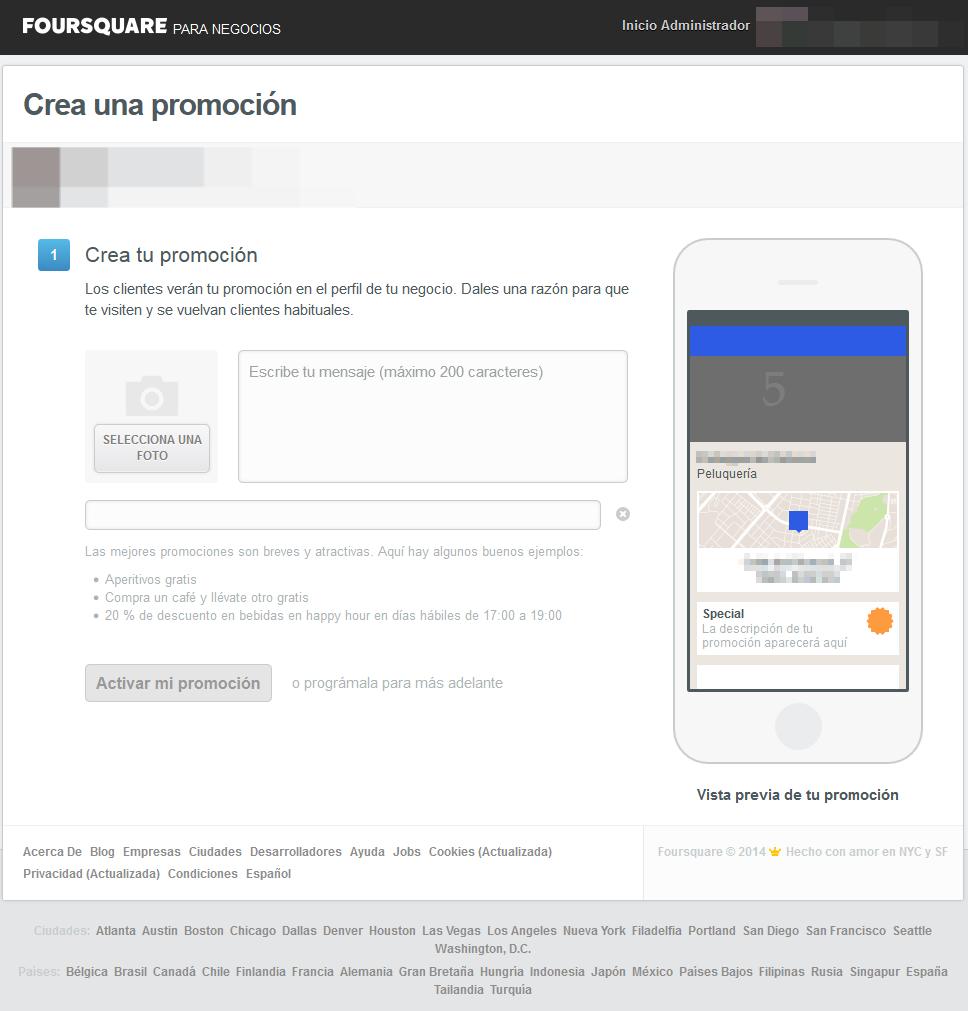 Crear promoción en Foursquare